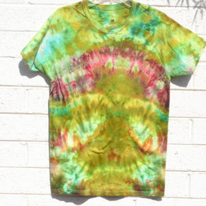 Chartreuse Green Turquoise Tie Dyed T Shirt Unique